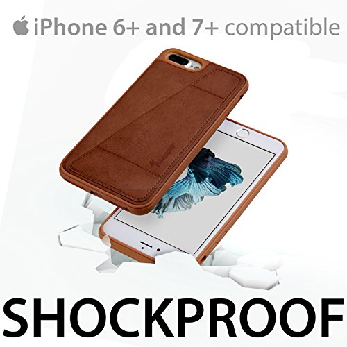 iSkipper iPhone Wallet Protective Case, Shockproof Hybrid, PC & TPU, with PU Back Leather - With RFID Protection Technology - Universal For iPhone 6 Plus, 7 Plus - 1 Credit Card Slot - Brown