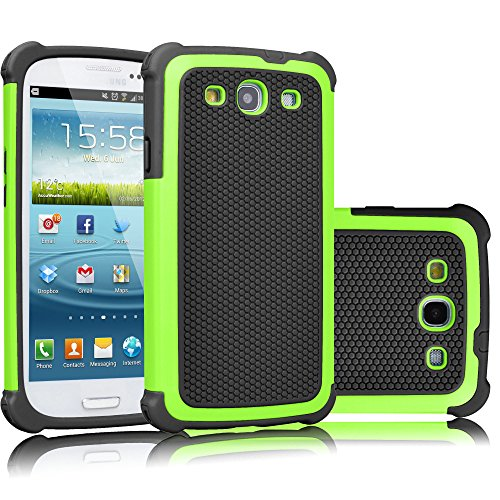 Galaxy S3 Case, Tekcoo(TM) [Tmajor Series] [Green/Black] Shock Absorbing Hybrid Rubber Plastic Impact Defender Rugged Slim Hard Case Cover Shell for Samsung Galaxy S3 S III I9300 GS3 All Carriers (Samsung Case Lime S3 Galaxy Green)