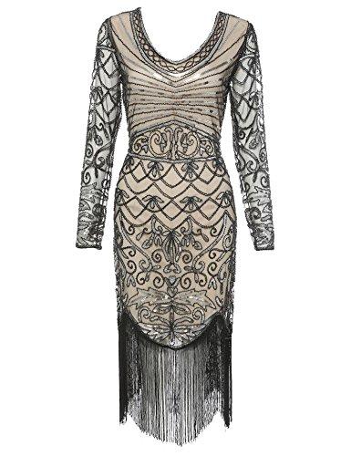 Women's Flapper Dress 1920s Sequins Art Deco Great Gatsby Cocktail Dresses (Beige Long Sleeve, L) -