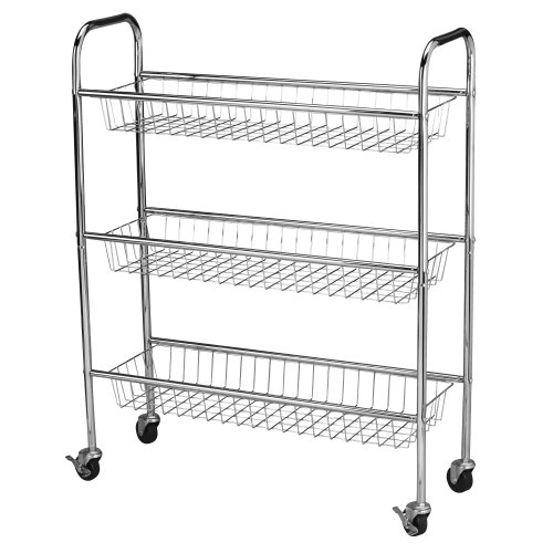 Household Essentials 5133-1 Slim Line 3-Tier Metal Storage Cart | Laundry Room Rolling Organizer | Chrome