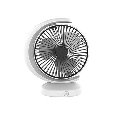 Wind source Mini Ventilador de Escritorio Portátil Multifunción Ventilador de bajo Ruido Ajustable Carga por USB Cuadrícula de Espera Larga Extraíble y Lavable (Color : White): Hogar