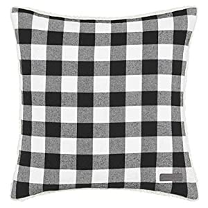 Eddie Bauer Cabin Plaid Square Pillow, 20-inch, Black