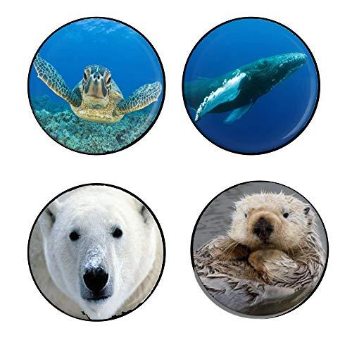 Endangered Species 4-Button set: Marine Animals - Blue Whale, Sea Turtle, Polar Bear, Sea Otter
