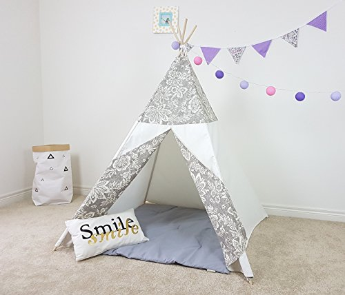 (Kids Teepee Grey and White Flowers Tipi with Poles Girls Large Playhouse Play Photo prop Indoor Tent Small Canvas Teepee)
