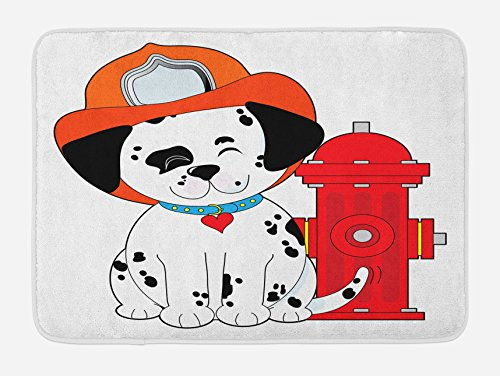 Lunarable Fireman Bath Mat, Cartoon Style Dalmatian Firefighter Puppy Wiggling Its Tail with Fire Hydrant, Plush Bathroom Decor Mat with Non Slip Backing, 29.5