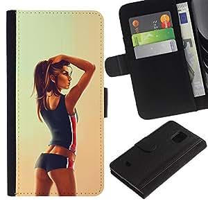 JackGot ( Sexy Fit donna della ragazza Disegno ) Samsung Galaxy S5 Mini (Not S5), SM-G800 la tarjeta de Crédito Slots PU Funda de cuero Monedero caso cubierta de piel