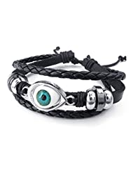 TEMEGO Jewelry Mens Leather Braided Alloy Bracelet, Vintage Gothic Evil Eye Beads Charm Cuff Bracelet, Adjustable 6-8.5 Inch, Black Silver