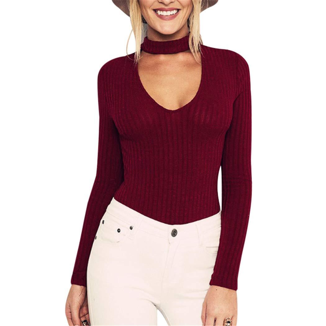 FUNOC Women Ribbe Choker Long Sleeve Knit Slim Sweater Jumper Tops Knitwear 1739331168171