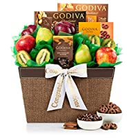 GiftTree Fresh Fruit and Godiva Congratulations Gift Basket | Includes Godiva Chocolates, Fresh Pears, Crisp Apples, Juicy Kiwis and Plums | Celebrate Life's Milestones