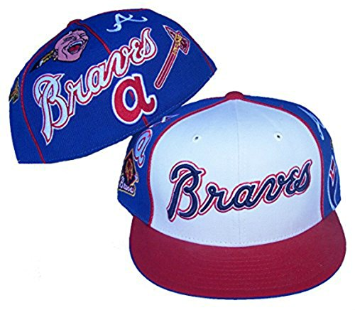 Atlanta Braves Fitted Size 7 7/8 Tri Tone Multi Logo Hat Cap
