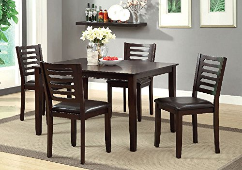 1PerfectChoice Amador 5 pc Dining Set Rectangular Table Padded Leatherette Side Chairs Espresso