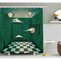 Green Shower Curtain by Lunarable, Fairy Tale Illustration Walls of Grass and Clocks Wonderland Theme Print, Fabric Bathroom Decor Set with Hooks, 105 Inches Extra Wide, Forest Green Sage Green