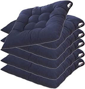 MWPO Wicker Seat Cushion, Indoor/Outdoor Patio Furniture Cushions Pad, with Ties for Non Slip, Soft and Comfortable, Outdoor Seat Cushions for Patio Furniture 40X40cm,Navy Blue,6 Pack