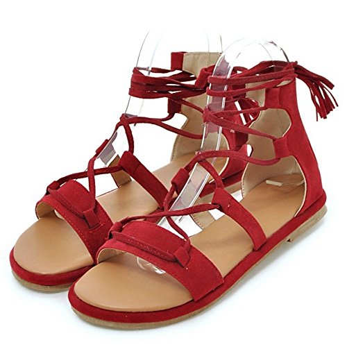 TAOFFEN Clasico Gladiador Verano Sandalias Con Cordones Plano Playa Zapatos Rojo