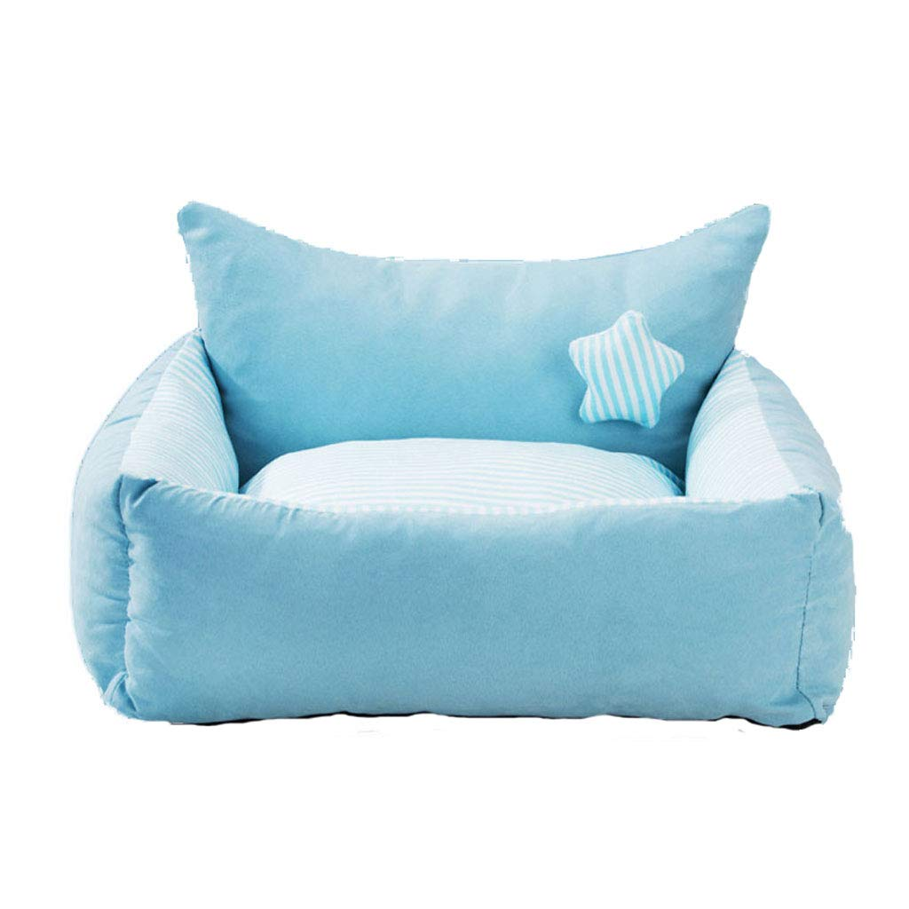 Light bluee 60x50x28cm Light bluee 60x50x28cm PLDDY Washable Pet Dog Bed Mat Warmer Dog Cat Nest Sofa with Pillow, Removable Cover, Waterproof, Bite Resistant, Non-slip Backing,Winter Pet Supplies, Small Medium Large