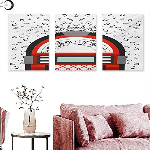 Magazine Jukebox (Jukebox Canvas Wall Art Cartoon Party Music Antique Old Vintage Retro Box with Notes Artwork Triptych Photo Frame Red Black Grey and White W 12