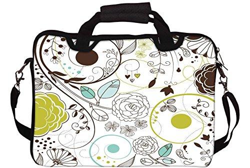 Snoogg Retro Floral Background Gedruckt Notebook-Tasche mit Schultergurt 15 bis 15,6 Zoll