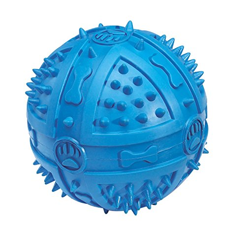 Grriggles Rubber Chompy Romper Ball Dog Toy, 3-3/4-Inch, Blue