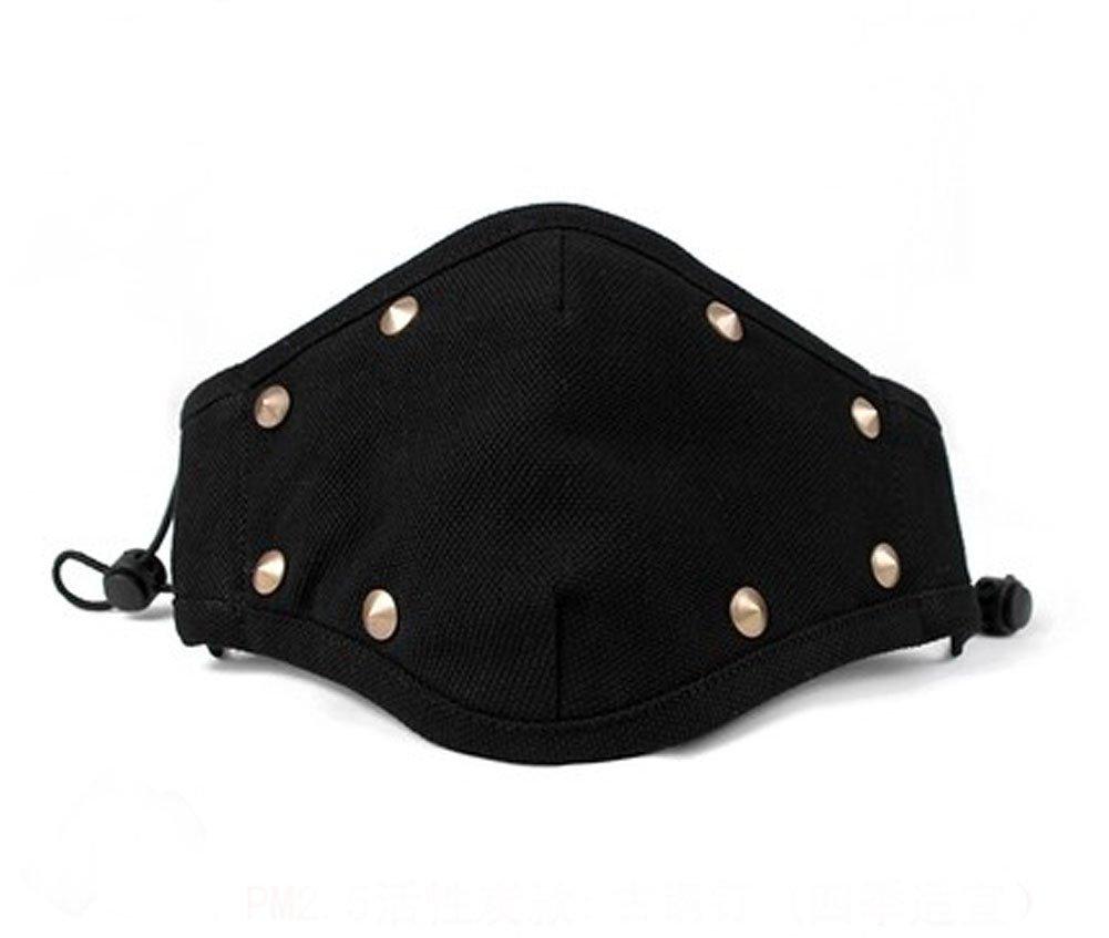 Fashionable PM2.5 Bronzy Rivet Activated Carbon Anti Fog Sanitary Mask, Black