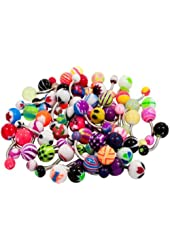 BodyJ4You® Lot of 50Pc 14G Belly Rings Piercing Jewelry No Duplicates