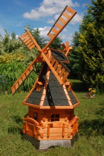 Windmühle, Windmühlen kugelgelagert 1,4m Beleuchtung Solar Solarbeleuchtung LED (dunkel)