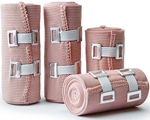 Premium Elastic Bandage Wrap Compression Roll, Set Of 4 Pack FDA Approved Polyester Cotton. Two Rolls Of Each Size, 4 Inch x 5 Feet & 3 Inch x 5 Feet, Includes 4 Extra Clips With Hook and Loop Closure by D and H Medical