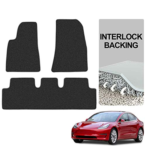 Teexpert Tesla Model 3 Floor Mats All Weather Interlock Backing Custom Fit Heavy Duty All Season Eco Friendly Accessories 2017 2018 2019 Black