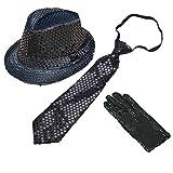 CHUANGLI Adult Sequins Fedora Hat Jazz Hat & Glitter Gloves & Necktie Dance Cap Solid Jazz Hat Party Glitter Costum