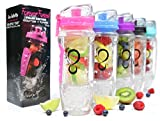 Live Infinitely 32 oz. Infuser Water Bottles - Featuring First Ever Gel Freezer Ball Infusion Rod, Flip Top Lid, Larger Dual Hand Grips & Recipe Ebook Gift (Pink)