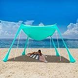 UBOWAY Beach Sunshade Tent with Sandbag Anchors and Canopy for Beach, Picnic, Camping