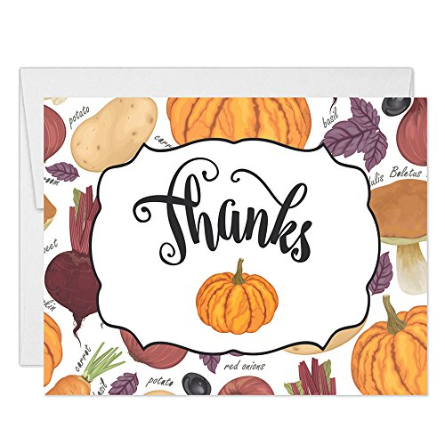 ner Thank You Notecards with Envelopes (Pack of 25) Traditional Autumn Pumpkins Folded Cards Thanks for The Meal See Matching Thanksgiving Turkey Feast Invites Excellent Value ()