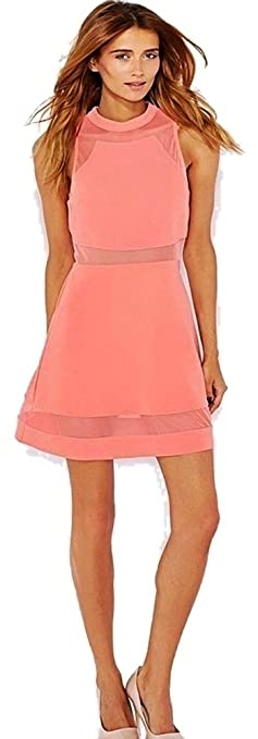 Topshop Highstreet Brand Coral Fit & Flare Sleeveless Dress with Sheer Panels Orig Price £40 Size 14: Amazon.co.uk: Clothing