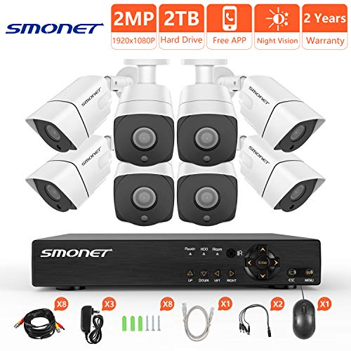 [Full HD] Security Camera System 1080P,SMONET 8 Channel 5-in-1 HD DVR Camera System(2TB Hard Drive),8pcs 2MP Weatherproof Security Cameras,Super Night Vision,Free APP,Easy Remote View,Plug and Play