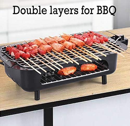 LXVY 2000W Multifonctions Barbecue électrique Cuisinière Smokeless Barbecue Charbon Un Pot intérieur et extérieur Double Grill