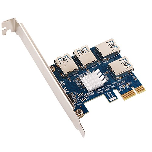 Ubit 1 to 4 PCI-E Riser Extender for Bitcoin\Litecoin\ ETH Coin 4 in 1 PCI-E Riser Adapter Board USB3.0 PCI-E Rabbet- Ethereum Mining ETH (4 in 1