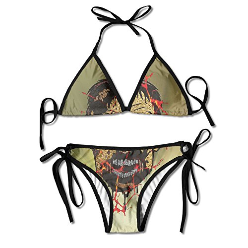 Horror Zombie Metallic Face Popular Art Style Emotional Response Fittedtwo Piece Bra Triangle Summer Beach Swimwear (Bra Zombie)