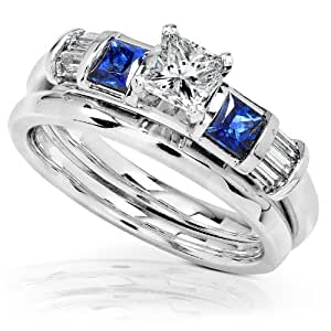 3/4 Carat Blue Sapphire & Diamond Wedding Rings Set in 14k White Gold - Size 7.5