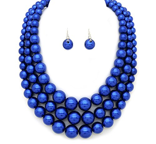Women's Three Multi-Strand Simulated Pearl Statement Necklace and Earrings Set (Royal Blue) - Blue Pearl Costume Jewelry