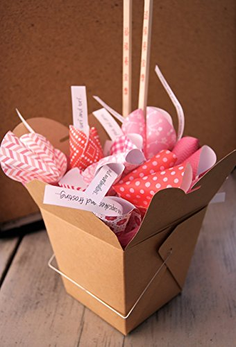 Personalized Paper Origami Fortune Cookies in Takeout Box and Chopsticks with Customized Messages Anniversary Birthday Valentine -
