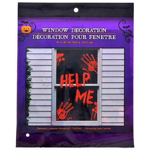 Greenbrier Halloween Help ME Bloody Hands Haunted House Window Decorations -