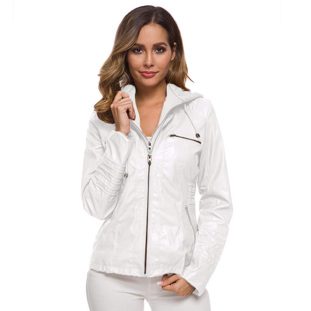 Redacel Women Short Leather Jacket Coat Autumn Winter Long Sleeve Zipper Jacket (XXXXXXL,White) by Redacel