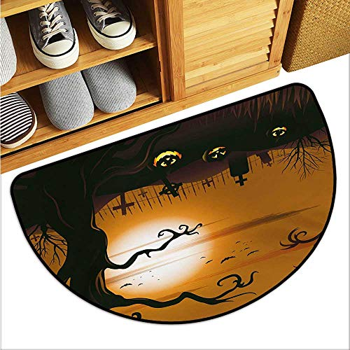 warmfamily Halloween Fashion Door mat Leafless Creepy Tree with Twiggy Branches at Night in Cemetery Graphic Drawing Hard and wear Resistant W29 x L17 Brown -
