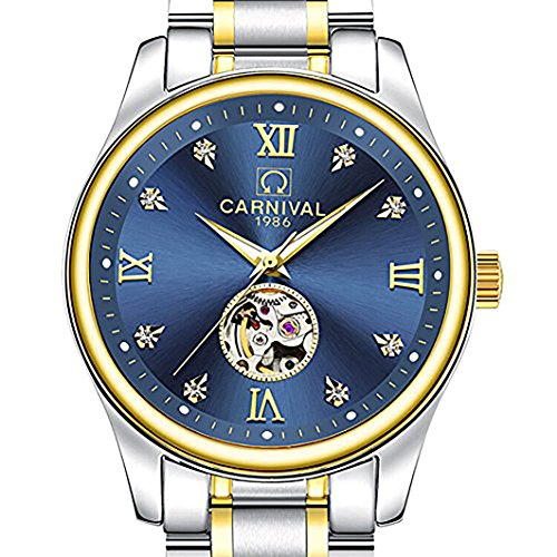 WhatsWatch Carnival Swiss Watch Men 25 Jewels Automatic Mechanical Movment Diamond Blue Dial Stainless Steel