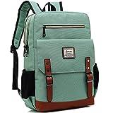 Kenox Mens Large Vintage Canvas Backpack School Laptop Bag Hiking Travel Rucksack (Greenfabric)