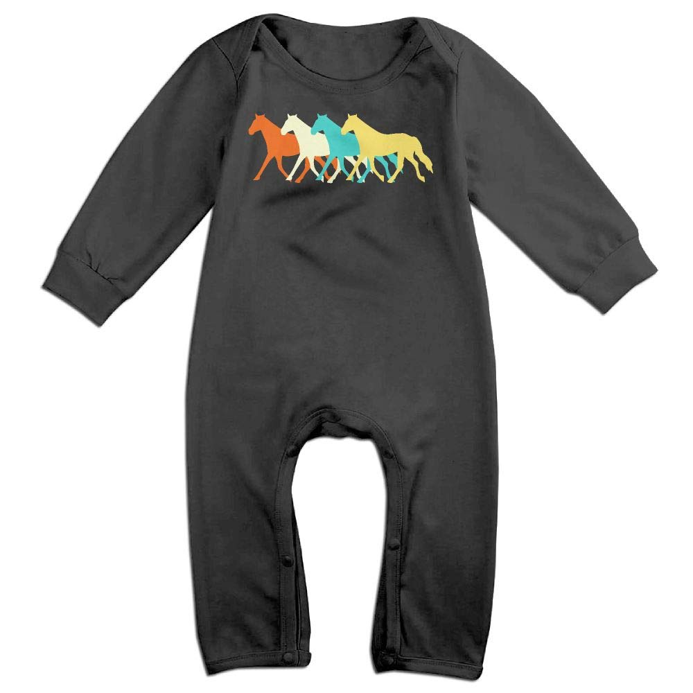 UGFGF-S3 Vintage Horses Long Sleeve Infant Baby Boy Girl Baby Romper Jumpsuit Onsies for 6-24 Months Bodysuit