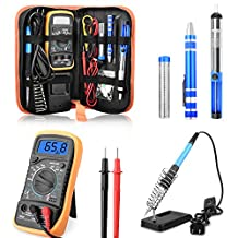 ETEPON Soldering Iron Kit ON/OFF Switch Electronic Adjustable Temperature Welding Kit Soldering Gun with Digital Multimeter, Soldering Iron Stand, Desoldering Pump, Soldering Wire, 8pcs Soldering Tips