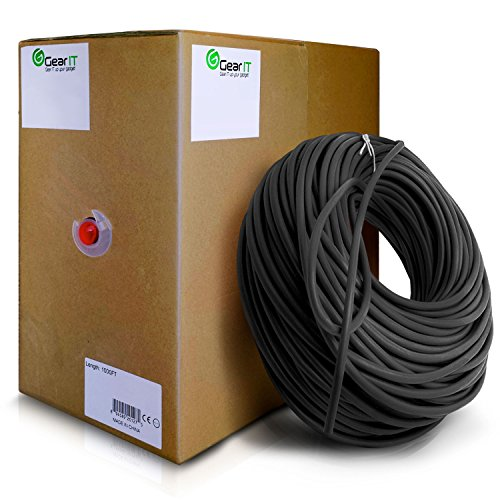 GearIT 1000 Feet Bulk Cat6 Ethernet Cable - Cat 6e 550Mhz 24AWG Full Copper Wire UTP Pull Box - In-Wall Rated (CM) Stranded Cat6, Black