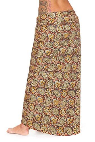 Pareo - Falda sarong unisex de la India, con estampado a mano tradicional marrón 3
