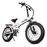 ENGWE Electric Mountain Bicycle, Sporting Fat Tire City Snow Bikes Shimano 6 Speed Gear EBike with Removable 48V8A Lithium Battery(20') (White)
