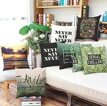 STORAGE MART 44x44cm Retro Vintage Various Leaf Grass Print Pillow Cover  Cotton Linen Pillow Case Home
